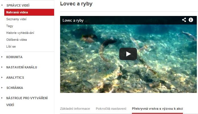 Youtube - nastavení překryvné vrsty