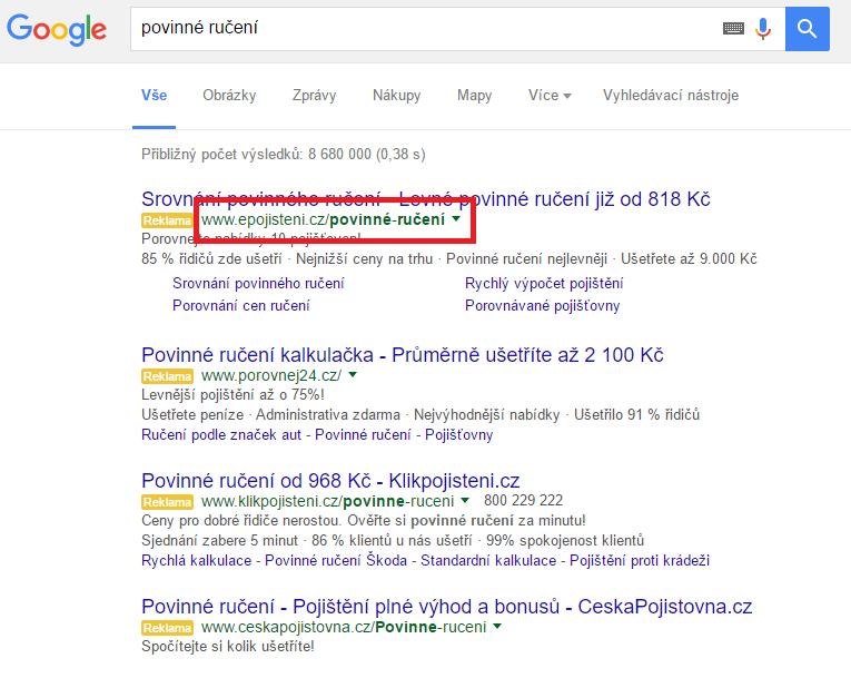 Viditelná URL v Google Adwords